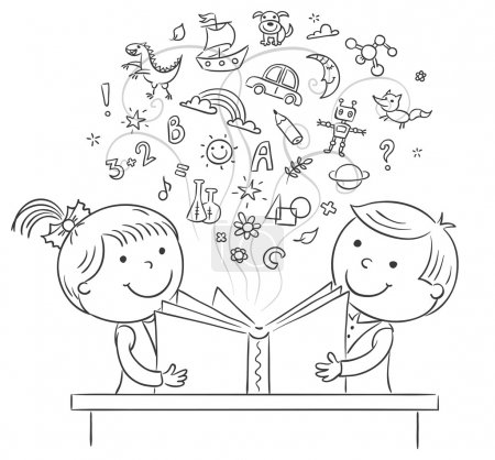 Illustration pour Enfants lisant un livre ensemble, contour noir et blanc - image libre de droit