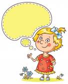 Little girl with a speech bubble showing sign of approvement