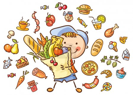 Illustration for Happy child with a big bag full of food and isolated food set - Royalty Free Image
