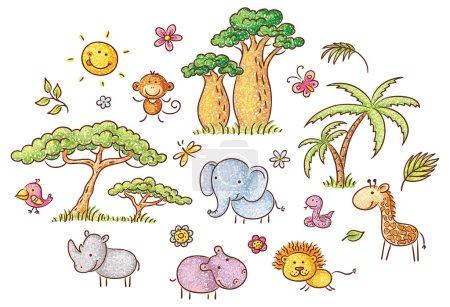 Photo pour Ensemble de dessins animés exotiques animaux et plantes africains, sans gradients - image libre de droit