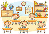 Little cartoon kids in the classroom at the lesson no gradients