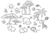 Set of cartoon exotic African animals and plants black and white outline