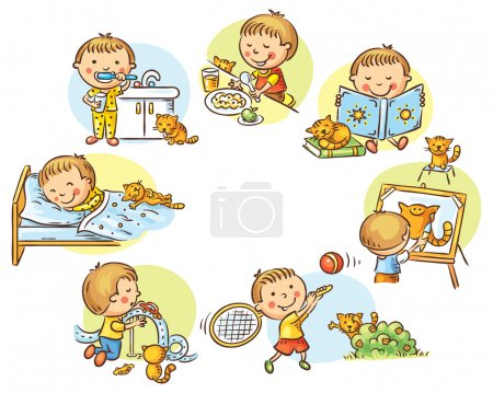 Illustration for Little boy's daily activities, no gradients - Royalty Free Image