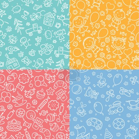 Set of simple monochrome seamless patterns with kids, sweets, toys