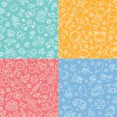 Set of simple monochrome seamless patterns with kids sweets and toys