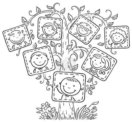 Photo pour Happy arbre généalogique en images, contour noir et blanc - image libre de droit