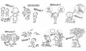 Question words in cartoon pictures visual aid black and white outline