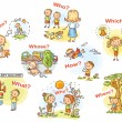 Question words in cartoon pictures, visual aid for...