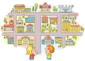 Children asking and telling the way to different city buildings colorful cartoon