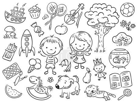 Illustration pour Doodle ensemble d'objets de la vie d'un enfant, y compris les animaux de compagnie, jouets, nourriture, plantes et objets pour le sport et les activités créatives - image libre de droit