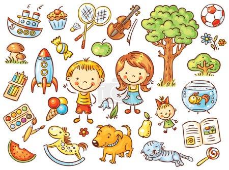 Photo pour Ensemble de gribouillis colorés d'objets de la vie d'un enfant, y compris des animaux domestiques, des jouets, de la nourriture, des plantes et des choses pour le sport et les activités créatives - image libre de droit
