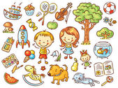 Colorful doodle set of objects from a child's life including pets toys food plants and things for sport and creative activities