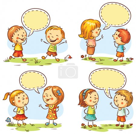 Illustration for Kids talking and showing different emotions, set of four scenes with speech bubbles - Royalty Free Image