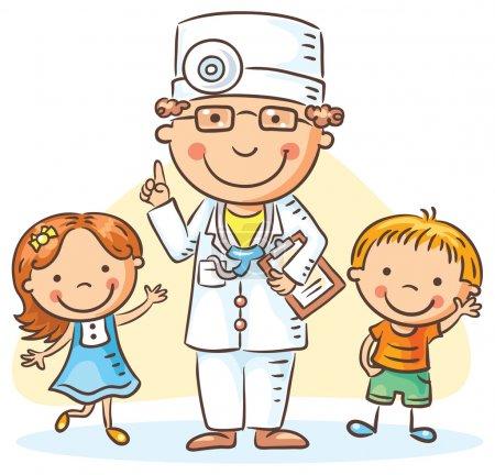 Illustration pour Médecin de bande dessinée avec de petits enfants heureux, un garçon et une fille, pas de dégradés - image libre de droit