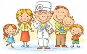 Family doctor with his patients parents and three kids