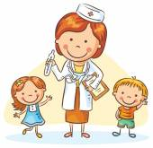 Cartoon doctor with happy little children, boy and girl