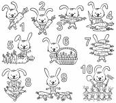 Numbers in cartoon pictures set rabbit and his carrots
