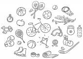 Set of cartoon sport Things black and white outline