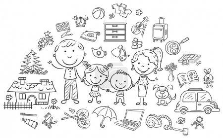 Photo pour Ensemble de vie familiale, contour noir et blanc - image libre de droit