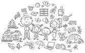 Family life set black and white outline
