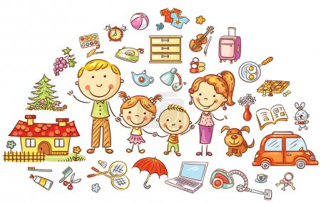 Illustration for Family life and household set, colorful cartoon - Royalty Free Image