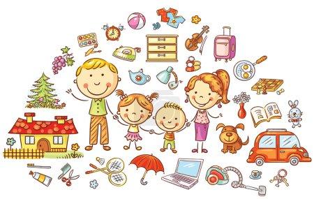 Illustration pour Vie familiale et ménage, dessin animé coloré - image libre de droit