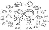 Summer clothes set for a boy and a girl black and white outline