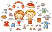 Winter clothes set for a boy and a girl items can be put on