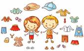 Summer clothes set for a boy and a girl items can be put on colorful cartoon
