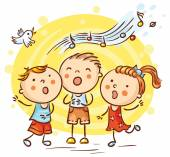 Children Singing Songs Colorful Cartoon