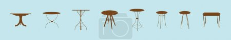 Photo pour Ensemble de modèle de conception d'icône de dessin animé de table en bois avec divers modèles. illustration vectorielle isolée sur fond bleu - image libre de droit