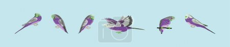 Illustration pour Ensemble de dessin animé oiseau perruche modèle de conception d'icône avec divers modèles. illustration vectorielle isolée sur fond bleu - image libre de droit