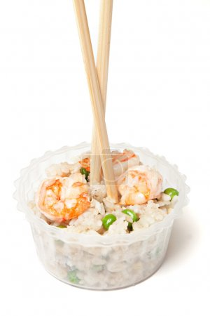 Photo for Chinese rice with shrimps and mushrooms - Royalty Free Image