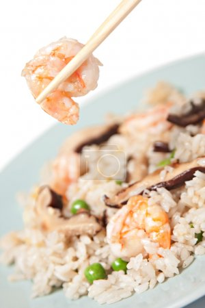 Photo for Close up of Chinese rice with shrimp and mushrooms - Royalty Free Image