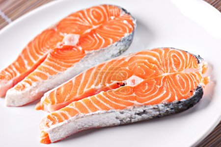 Raw Salmon on plate