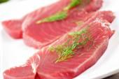 Raw tuna on plate