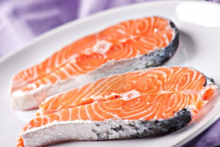 Raw Salmon on plate