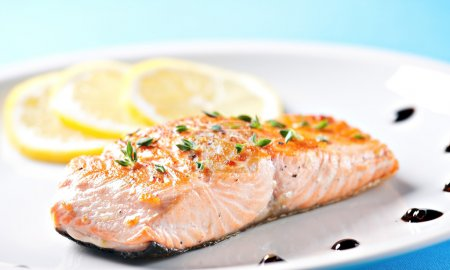 Fillet of salmon on a plate