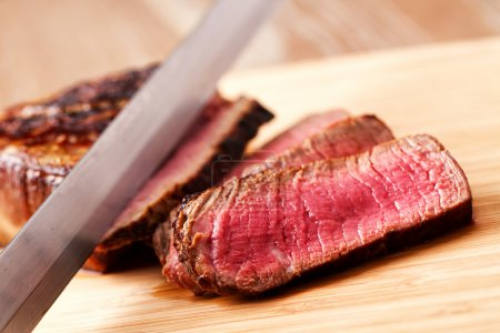 Photo for Beef tenderloin sliced, close up - Royalty Free Image