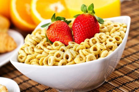 Photo for Cereal with milk and strawberries - Royalty Free Image
