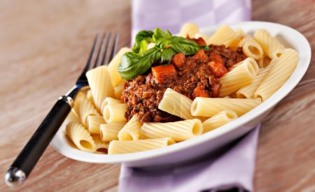 Macaroni Bolognese on plate
