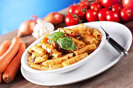 Macaroni Bolognese on plate