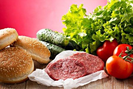 various Ingredients for hamburgers