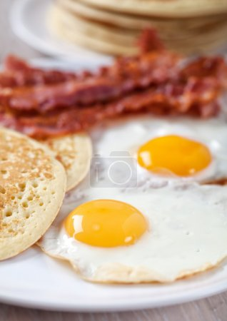 Photo for Pancakes with Bacon and Eggs, close up - Royalty Free Image