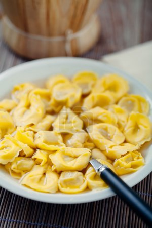 Photo for Delicious Tortellini In Bouillon, close up - Royalty Free Image