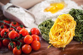 tomatoes,  eggs and flour