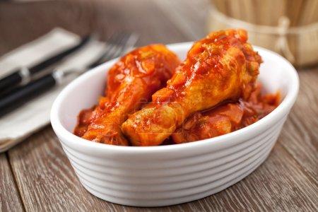 Chicken Cacciatore in white bowl