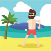 Beard man surfing