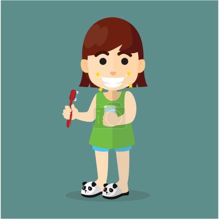 Illustration pour Fille brosse ses dents dessin animé plat illustration design - image libre de droit