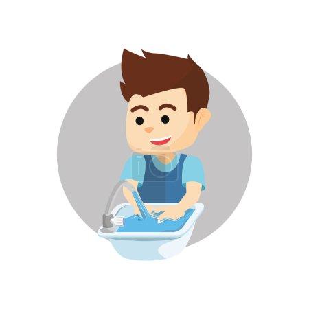 Illustration pour Garçon se laver la main .eps illustration vectorielle plate - image libre de droit